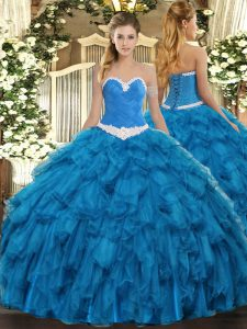 Blue Quince Ball Gowns Military Ball and Sweet 16 and Quinceanera with Appliques and Ruffles Sweetheart Sleeveless Lace Up