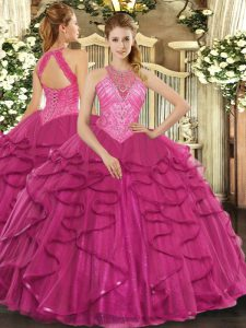 Traditional Sleeveless Tulle Floor Length Lace Up Quinceanera Dresses in Hot Pink with Beading and Ruffles