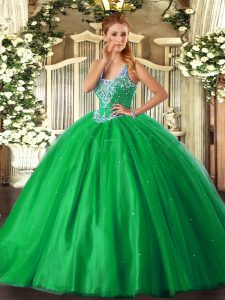 Romantic Green Ball Gowns Straps Sleeveless Tulle Floor Length Lace Up Beading Vestidos de Quinceanera
