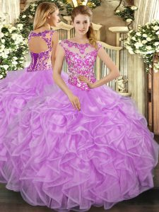 Organza Scoop Cap Sleeves Lace Up Beading and Appliques and Ruffles Quinceanera Dresses in Lilac