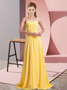 Comfortable Spaghetti Straps Sleeveless Chiffon Prom Evening Gown Ruching Lace Up