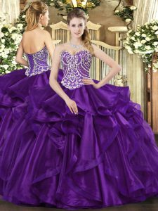 Romantic Beading and Ruffles Quinceanera Dresses Purple Lace Up Sleeveless Floor Length