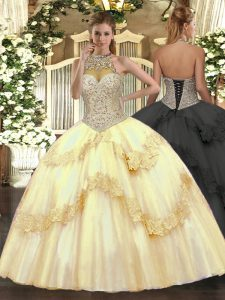 Fancy Gold Halter Top Neckline Beading and Appliques Quinceanera Gowns Sleeveless Lace Up