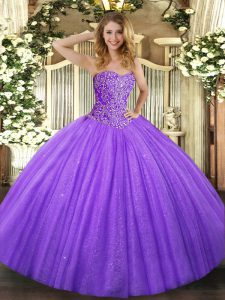 Dynamic Floor Length Lavender Quinceanera Dresses Tulle Sleeveless Beading