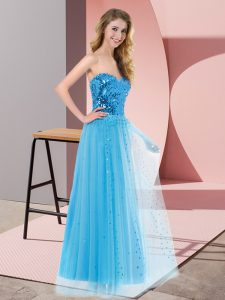Sleeveless Tulle Floor Length Lace Up Prom Dress in Blue with Sequins