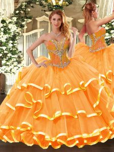 Orange Sleeveless Floor Length Beading and Ruffled Layers Lace Up Quince Ball Gowns