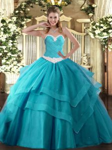 Latest Teal Sleeveless Floor Length Appliques and Ruffled Layers Lace Up Quinceanera Dress