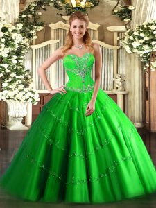 Dramatic Lace Up Sweetheart Beading Sweet 16 Dresses Tulle Sleeveless