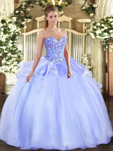Nice Sleeveless Lace Up Floor Length Embroidery Sweet 16 Dress