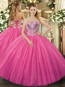 Ideal Floor Length Hot Pink 15 Quinceanera Dress Sweetheart Sleeveless Lace Up