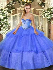 Comfortable Blue Ball Gowns Sweetheart Sleeveless Tulle Floor Length Lace Up Beading and Ruffled Layers Sweet 16 Quinceanera Dress