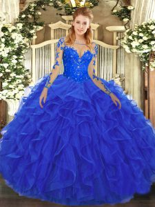Royal Blue Ball Gowns Tulle Scoop Long Sleeves Lace and Ruffles Floor Length Lace Up Quinceanera Dress