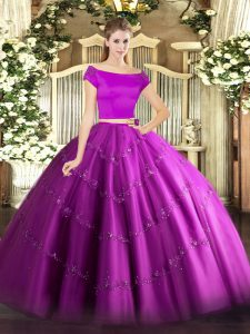 Fancy Off The Shoulder Short Sleeves Zipper Quinceanera Dress Fuchsia Tulle