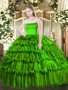Perfect Organza Strapless Sleeveless Zipper Ruffled Layers Quince Ball Gowns in