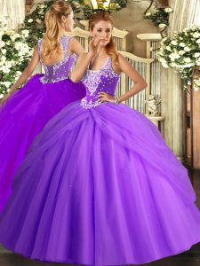 Floor Length Lavender Quinceanera Dress Tulle Sleeveless Beading and Pick Ups