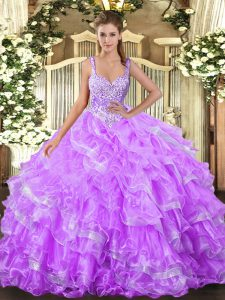 Nice Sleeveless Beading and Ruffled Layers Lace Up Ball Gown Prom Dress