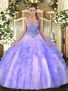 Sleeveless Floor Length Beading and Ruffles Lace Up Quinceanera Gowns with Lavender