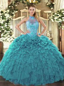 Teal Sleeveless Floor Length Beading and Embroidery and Ruffles Lace Up Vestidos de Quinceanera