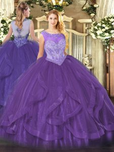 Glittering Eggplant Purple Sleeveless Floor Length Beading and Ruffles Lace Up Sweet 16 Dresses