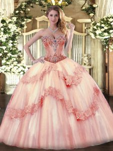 Free and Easy Baby Pink Quinceanera Dresses Sweetheart Sleeveless Lace Up