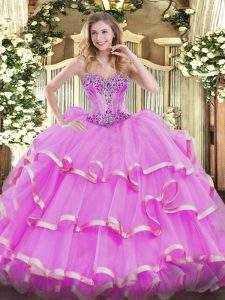 Cute Lilac Sleeveless Floor Length Beading and Ruffles Lace Up Sweet 16 Dresses