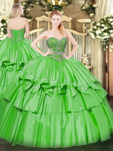 Sleeveless Floor Length Beading and Ruffled Layers Lace Up Quinceanera Dresses