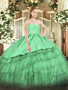 Smart Sweetheart Sleeveless Quinceanera Gowns Floor Length Beading and Lace and Embroidery and Ruffled Layers Green Organza and Taffeta