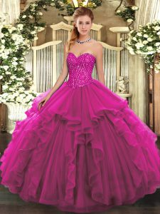 Extravagant Beading and Ruffles Ball Gown Prom Dress Fuchsia Lace Up Sleeveless Floor Length
