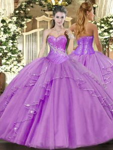 Floor Length Lavender Vestidos de Quinceanera Sweetheart Sleeveless Side Zipper