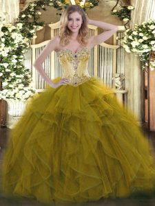 Sleeveless Organza Floor Length Lace Up Sweet 16 Dress in Olive Green with Beading and Ruffles