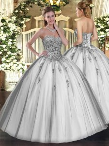 Grey Sleeveless Beading and Appliques Floor Length Ball Gown Prom Dress