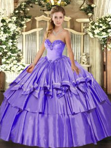 High Class Organza and Taffeta Sleeveless Floor Length 15 Quinceanera Dress and Beading and Ruffled Layers