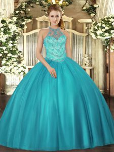 Suitable Teal Halter Top Neckline Beading Quinceanera Gowns Sleeveless Lace Up