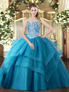 Teal Tulle Lace Up Sweetheart Sleeveless Floor Length Vestidos de Quinceanera Beading and Ruffled Layers