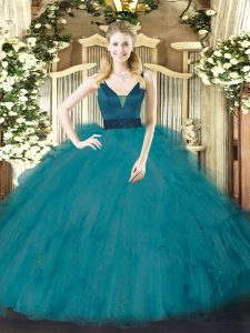 Elegant Floor Length Ball Gowns Sleeveless Teal Quinceanera Gown Zipper