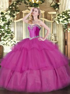 Fuchsia Lace Up Quinceanera Gown Beading and Ruffled Layers Sleeveless Floor Length