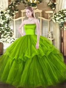 Customized Olive Green Sweet 16 Quinceanera Dress Military Ball and Sweet 16 and Quinceanera with Ruffled Layers Strapless Sleeveless Brush Train Zipper
