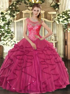 High Class Floor Length Hot Pink Vestidos de Quinceanera Scoop Sleeveless Lace Up