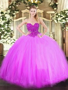 Tulle Sweetheart Sleeveless Lace Up Beading Ball Gown Prom Dress in Lilac
