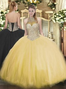 Adorable Gold Quinceanera Dress Military Ball and Sweet 16 and Quinceanera with Beading Halter Top Sleeveless Lace Up