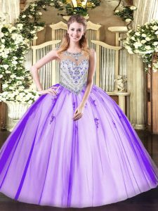 Lavender Sleeveless Beading and Appliques Floor Length Sweet 16 Dress