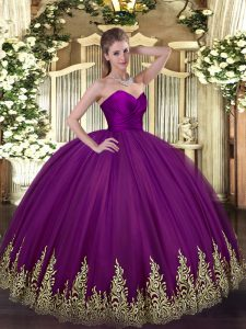 Excellent Floor Length Zipper Vestidos de Quinceanera Purple for Military Ball and Sweet 16 and Quinceanera with Appliques