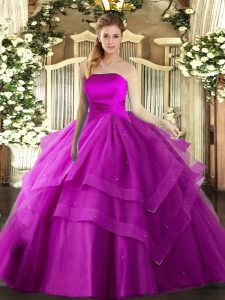 Sleeveless Tulle Floor Length Lace Up Quinceanera Gowns in Fuchsia with Ruffled Layers