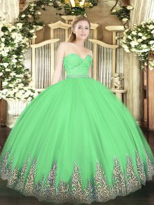 Green Ball Gowns Tulle Sweetheart Sleeveless Beading and Lace and Appliques Floor Length Zipper Sweet 16 Quinceanera Dress