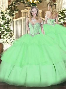 Apple Green Tulle Lace Up Quinceanera Dresses Sleeveless Floor Length Beading and Ruffled Layers