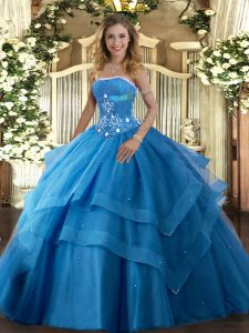 Admirable Baby Blue Ball Gowns Beading and Ruffled Layers Vestidos de Quinceanera Lace Up Tulle Sleeveless Floor Length