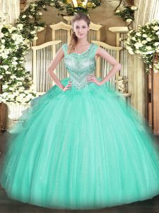 Apple Green Tulle Lace Up Scoop Sleeveless Floor Length Quince Ball Gowns Beading
