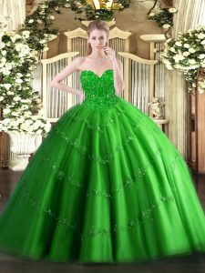 Comfortable Floor Length Lace Up Sweet 16 Dress Green for Military Ball and Sweet 16 and Quinceanera with Appliques