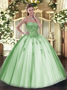 Beading and Appliques Quince Ball Gowns Apple Green Lace Up Sleeveless Floor Length