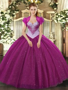 Fuchsia Lace Up Sweetheart Beading and Sequins Vestidos de Quinceanera Tulle Sleeveless